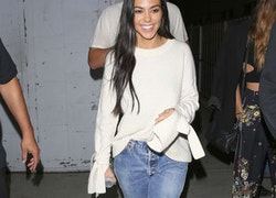 Kourtney Kardashian's Bell Sleeve Sweater and White Mules Outfit Idea