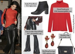Kendall Jenner's Red Turtleneck and Flared Leather Pants Look for Less